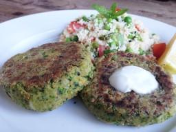 Falafel Burgers with Minty Couscous Salad