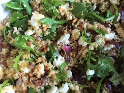 Couscous Salad with feta, onion and pine nuts.